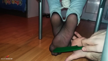 Tied ticklish feet with ropes in tickle chair