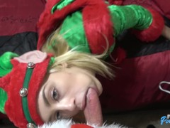 18 yo Blonde Elf w/Braces gets fucked by santa