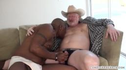 Chubby mature bare unsaddles black stud