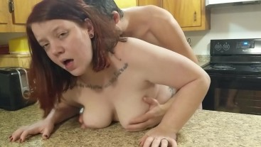 redhead banged and creampied on the counter
