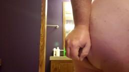 Straight Chubby boy with tiny dick fucks huge dildo