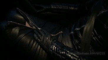 Shiny jacket, leather and seat belts