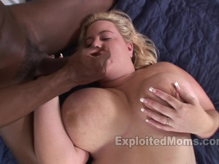blonde bbw mom gets fucked by a big black cock in amateur interracial video