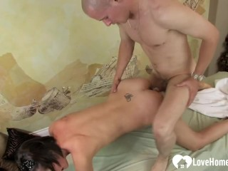 Cute masseuse gets fucked by his raging dick