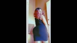 Flirty Ebony bbw in black dress