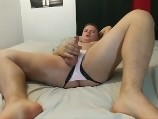 Jerk and cum and eat it in assless panties