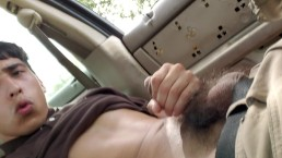 Young mexican jerking off in car