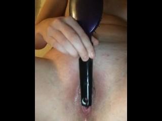 Teen fucks herself with hairbrush