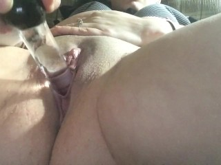 Tight pussy cums from glass dildo