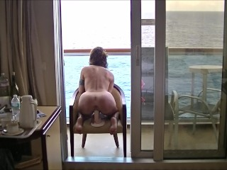 Masturbation In Public Porn -Riding Dildo On A Cruise Balcony