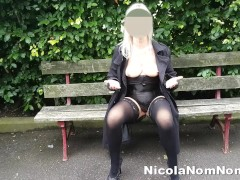 Flashing Mature Tits & Bald Pussy At The Park