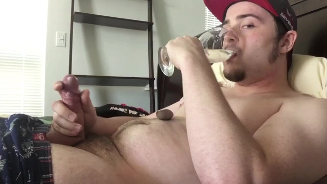 Guy drinks own cum