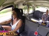 Female Fake Taxi Big tits Brit Ava Koxxx swallows cock & balls on backseat