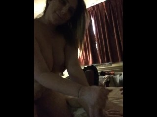 Wife with big tits sucks husbands cock. Amateur POV