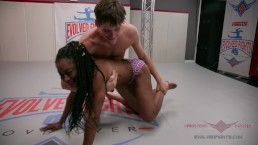 Ebony FBB takes on Male stud in Competitive WRestling