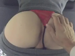 Daddy and cute twinks ass in car