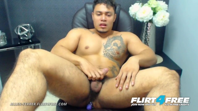 Free hairy gay male pic Allen ferrer on flirt4free - latino hunk with hairy pubes jerks his cock