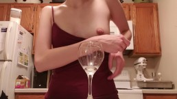 Squirting milk in a glass