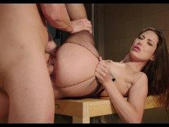 The sexies Alexa Tomas fucking hard on the table with black stockings