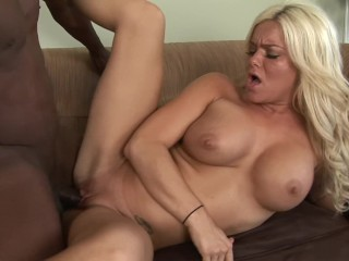 Tight Little Bubble Butt Blonde Milf Rides Big Black Cock and Gets Ass CUM