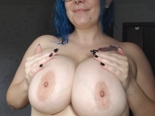 Putting lotion on my H cup tits