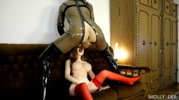 Crazy Sex Doll Asian Real Doll fucked by Latex Shemale