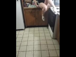 Teen cucumber masturbation in sorority kitchen after watching pornhub