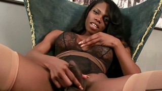 Big tit shemale Brooke Morgan jerking her huge cock