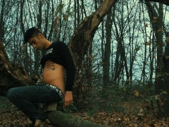 Twink Belly inflation till jeans are too tight Outdoor