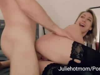 stepdad cuckold, stepmom fucked next to her resting husband
