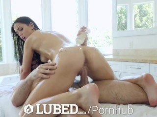 LUBED Tub TEASE leads to fuck and waterfall cumshot