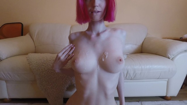 Hot redhead getting ass liked - Hot amateur redhead with big tits getting fucked, cum on tits 4k 60fps