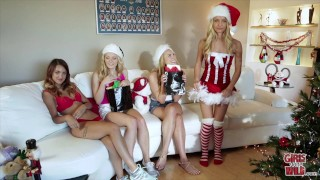 GIRLS GONE WILD - Horny Sorority Sisters Celebrate Christmas Lesbian Sex