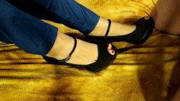 Cum on Feet and Sexy Black High Heels and Blue Jeggings - Cumplay - Fetish