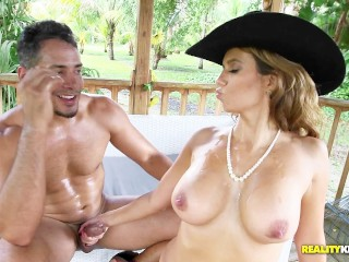 Big clit fucking videos reality-king hot boss mia ryder fucks her latino gardener in the yard , brunette big boobs outside boss sexy lingerie