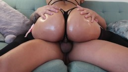 Babe Oils Her Fat Ass and Rides Boyfriends Cock