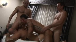 Triple-Threat bareback threesome with Brad McGuire