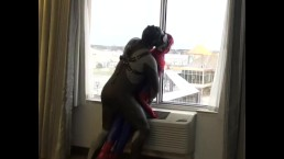 frogman humps and knocks out spiderman dummy at hotel window