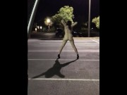 Slut wife completely nude flashing in a parking lot