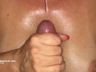 Hot escort milf is doing a breast massage on her tits with my cream. pov