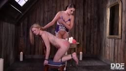 Candle wax & butt spanks give fetish subby Anna Polina & Tasha Holz orgasms