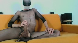 YOUNG GUY IN SHEER BODYSTOCKINGS MASTURBATE AND CUM ON FEET