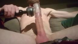 Vibrating my cock till i CUM