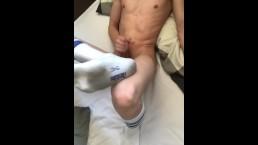 Dutch boy masturbating while he shows his dirty white socks