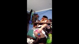 Trans Maid Fucks Herself and Cums on Stream