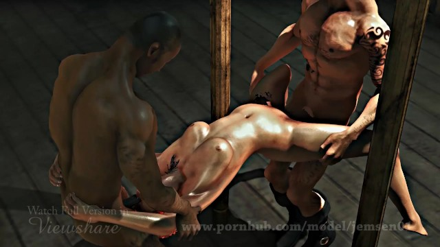 Fucking in the red Military sexy cute girl get fucked by two enemies-realistic animated porn