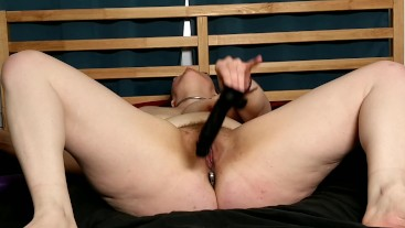 Collared PAWG slave cums hard DPing herself with toys for you