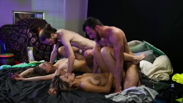 Passionate Double Couple Show with Creampie & Beautiful Emotional Reactions