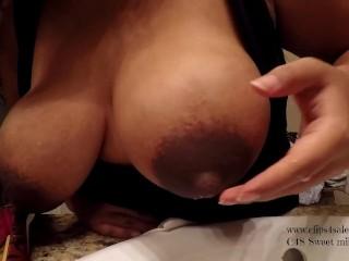 Up close latina milk squirting dark pregnant nipples