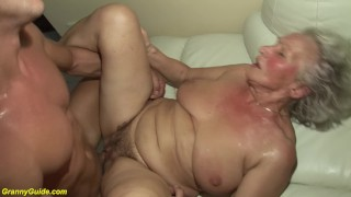 hairy busty 83 years old granny rough fucked by her toyboy
